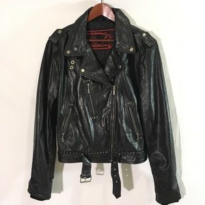 One sexy biker chick motorcycle leather jacket